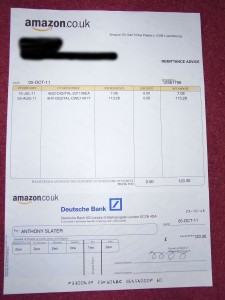 Cheque from Amazon