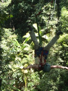 Upside down zip lining