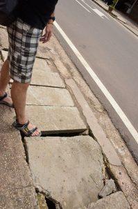 Broken-pavement