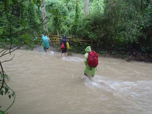 Rockclimbing-Wading-through-river