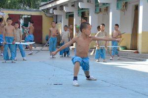 Shaolin-Kids-training-in-blue