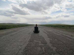 Vicky on empty Mongolian Road